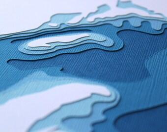 Lake Superior - original 8 x 10 papercut art