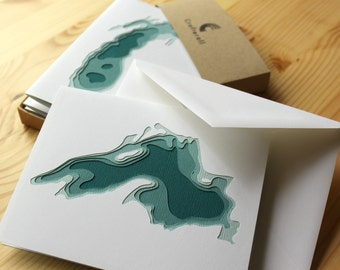 The Great Lakes - 5 papercut cards