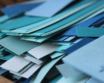 Large Box of Blue Paper Scraps