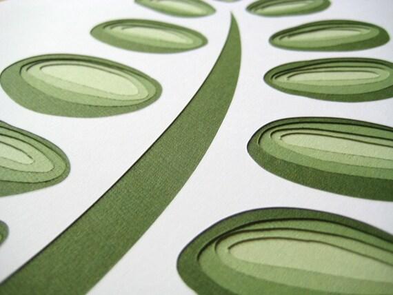 Retro Fern - original papercut (8 x 10)