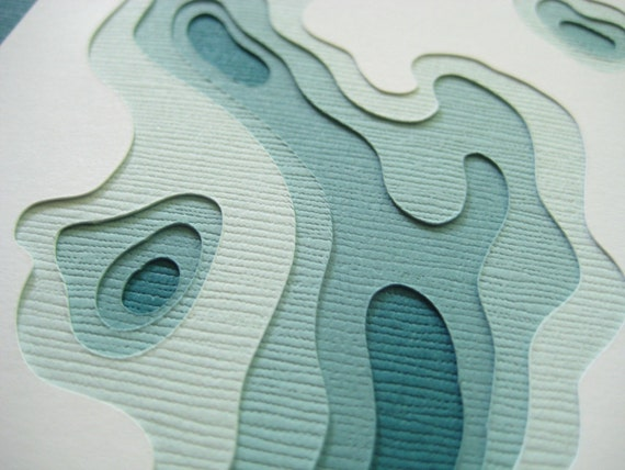 Topography in Teal - One handcut card