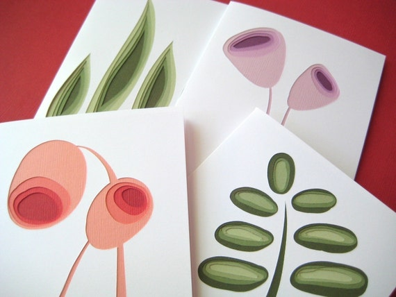 Retro Plants - set of four art cards