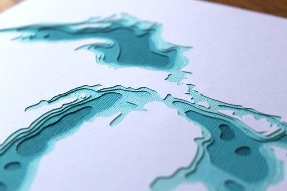 The Great Lakes - original 8 x 10 papercut art