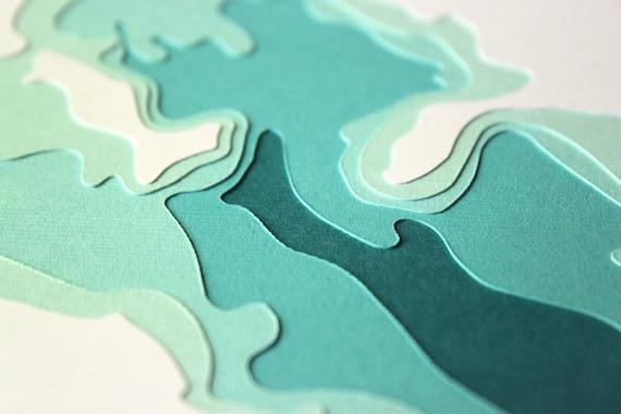 White Bear Lake - original 8 x 10 papercut art