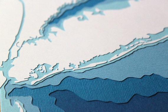 Long Island - original 8 x 10 papercut art in your choice of color