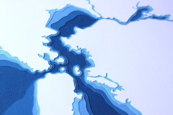 San Francisco Bay - original 12 x 12 papercut art in your choice of color