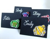 Triple Crown Party Place Card Kit // hand drawn stickers, black place cards, white pen // The Belmont Stakes is June 8th