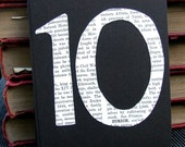 Book Lover Table Numbers, Table Card Numbers 1 - 10