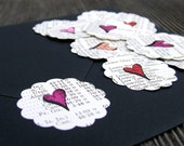 Hand drawn Heart Stickers, Set of 20 Vintage Atlas Paper Hearts, Valentine's Day Packaging Decor, Handmade Envelope Seals