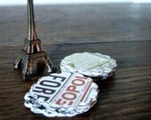Paris Market Stickers, Set of 20 Scalloped Envelope Seals, Vintage Inspired, French Style, Typography Type Paper Lover