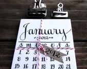 RESERVED for loveseth, 2012 Calendar, Mini Letterpress Calligraphy Calendar for the fridge or memo board