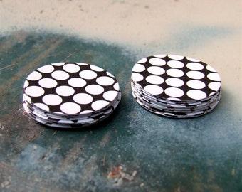 Pois Bois Polka Dot Stickers, set of 20 round, envelope seals, espresso brown with white polka dots