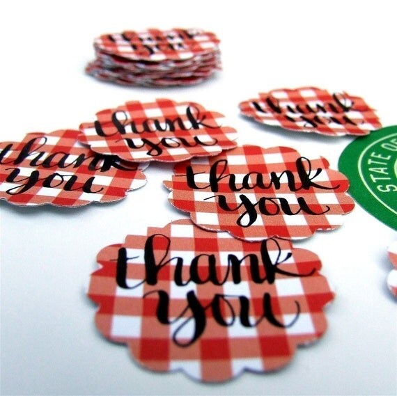 Calligraphy Thank You Stickers, package 20 Red and White Gingham Stickers for weddings and stationery, hand lettering by KisforCalligraphy