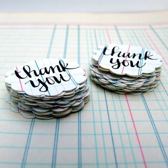 Thank You Stickers, 20 Handwritten Vintage Ledger Paper Envelope Seals, Individually Calligraphed