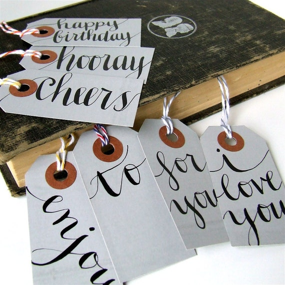 everyday gift tags, 7 small calligraphic grey parcel shipping tags by KisforCalligraphy