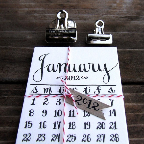 RESERVED for loveseth, 2012 Calendar, Mini Letterpress Calligraphy Calendar for the fridge or memo board