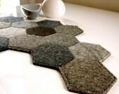 FELT MODERN DOILY. grey, modern, geometric.