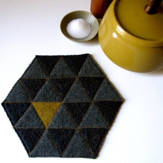 FELT DOILY, small. modern, geometric, recycled.