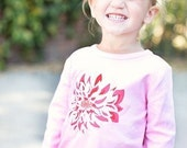Flower Applique Long Sleeve Tshirt  12M 18M 2T 3T 4T 5T 6
