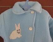 Rare Vintage 1940s bunny applique newborn baby blue fleece bunting snowsuit