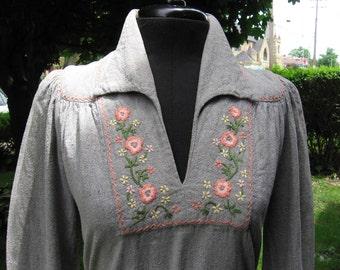 Vintage India hand embroidered cotton boho babydoll tunic mini dress