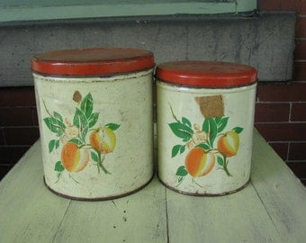 Vintage old shabby chic red lid kitchen tins