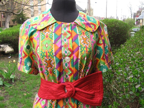 Take 20% off Vintage Mod Op art smock tunic day dress one size