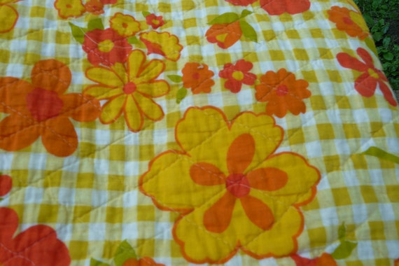 Vintage flower power cotton throw blanket quilt