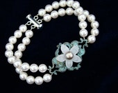 Flower Brooch Wedding Bracelet, Pearl Bridal Bracelet, Something Blue Jewelry  -  The Garden Party  -  Pearl Bridal Bracelet