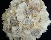 Rhinestone Brooch Bouquet, Wedding, Bridal Bouquet, Vintage, Custom, Crystal, Cream, Ivory, Hydrangea  -  Reserved For Lorraine's Wedding