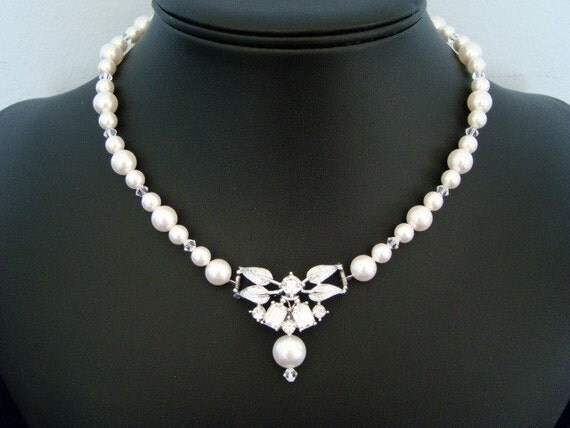 Pearl Necklace, Bridal Necklace, Rhinestone and Crystal Pendant, Wedding Jewelry  -  The Lady