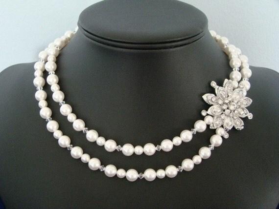 Vintage Pearl Brooch Bridal Necklace, Pearl Wedding Necklace, Rhinestone Brooch, 1950s  -  The Aster  -  Pearl Bridal Necklace