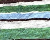 stripes - painting on handmade paper. brown, green, blue and white