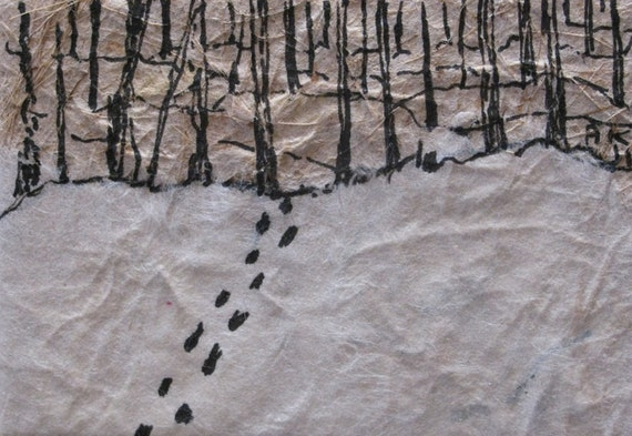 Miniature pen and ink drawing: footprints in the snow
