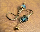 Sea Treasures - Brass and Blue Green Earrings