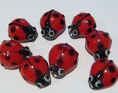 Cute little ladybug glass beads - Red