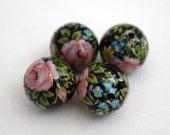Schwarz bunte Blumen rosa rose japanische Tensha-Perlen