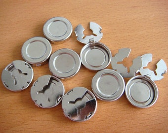 Silver coloured button cover clip on findings 18mm
