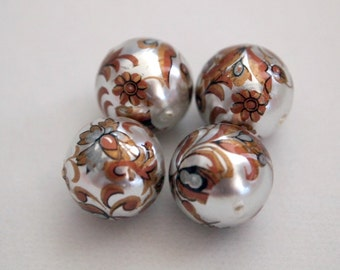 4 pearl bronze art deco floral Japanese tensha acrylic beads