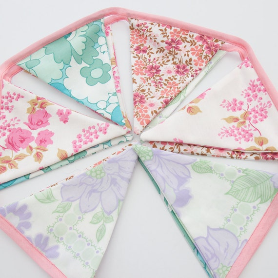 Floral Bunting Flags Summer Tea Party Decoration Pretty Pastel Pink,