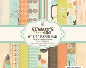 fancy pants designs paper pack - SUMMERS End collection - set of 36 - 1 side cardstock - 6x6