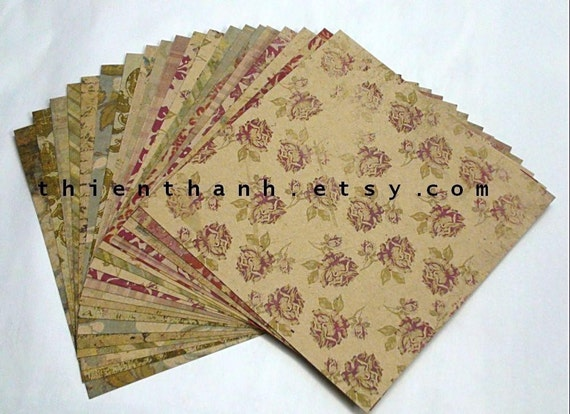 SPRING SALE - MME Oneside cardstock papers pack - Vintage collection - set of 20 papers - 6x6