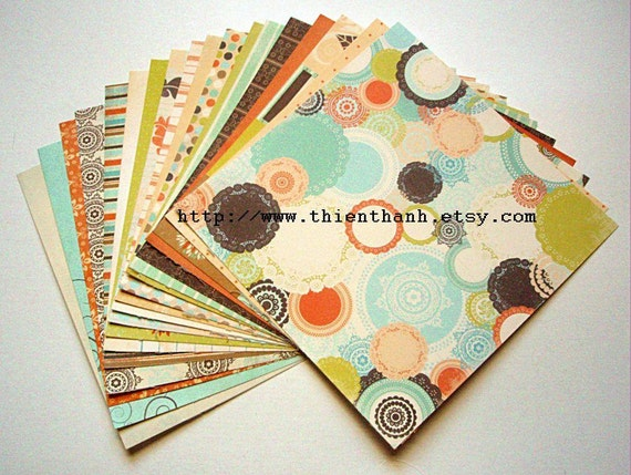 fancy pants designs papers pack - summers end collection - set of 18 - 1 side cardstock - 6x6