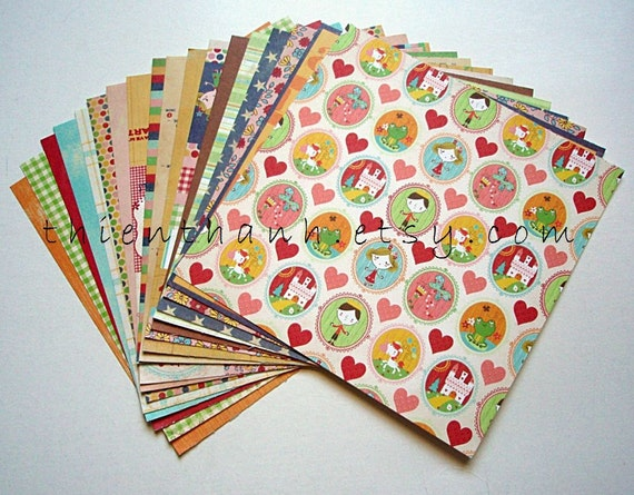 fancy pants designs papers pack - CHILDISH collection - set of 18 - 1 side cardstock - 6x6