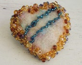 Handmade Heart Brooch-Needlefelted Wool Fibers and Beaded Pin