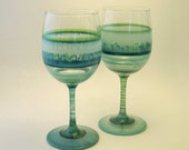 Sea Glass Pair of Hand-Painted Wine Glasses