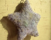 Handmade Wool Beaded Star Ornament- Winter Home Decor- Lavender Blue Green Soft Shades