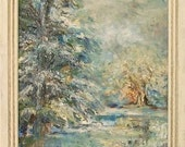 In the Snowy Silence- Original Impressionist Landscape Painting- Textured Framed Art