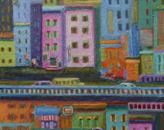 Original Landscape Modern Folk Art- Colorful City Street Scene- 8x10- Fanciful Cityscape