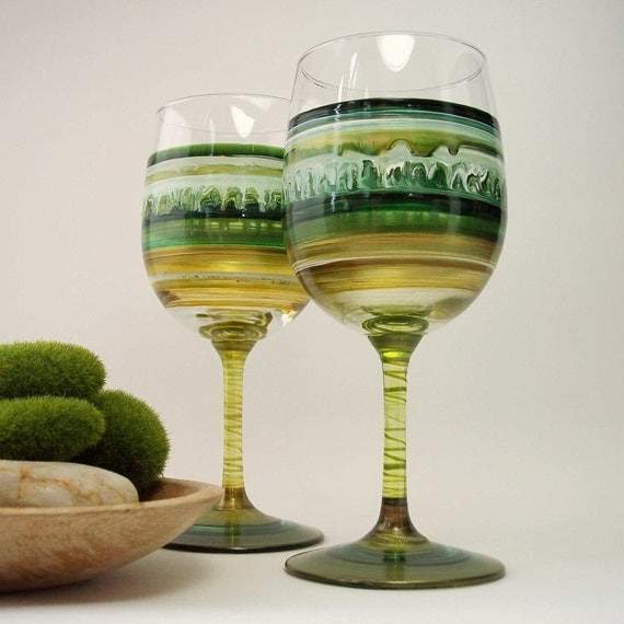 Woodland Forest-  Pair of Green Original Hand Painted Wine Glasses